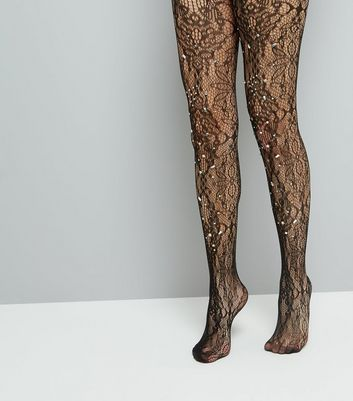 Black Lace Diamante Tights