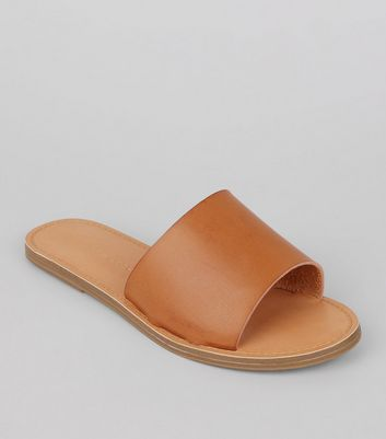 Wide Fit - Mules ocre