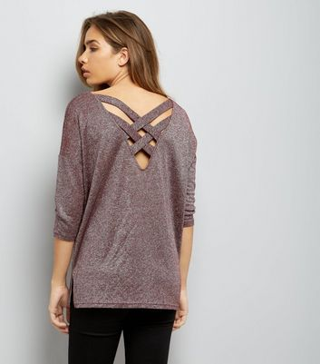 Burgundy Glitter Fine Knit Lattice Back Top