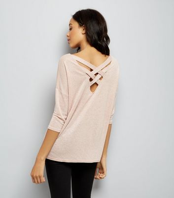 Pink Glitter Fine Knit Lattice Back Top