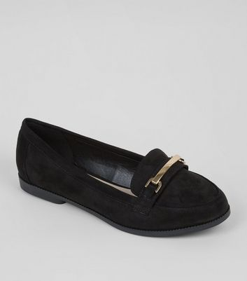 Wide Fit Black Comfort Suedette Metal Trim Loafers