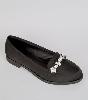 Wide Fit Black Satin Embellished Loafers