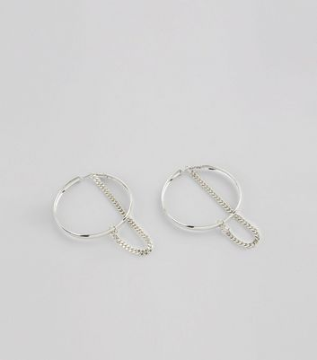 Silver Hoop and Chain Earrings