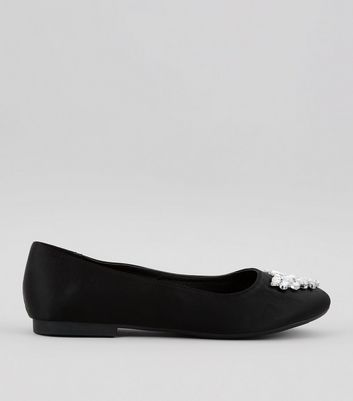 Wide Fit Black Satin Embellished Ballet Pumps