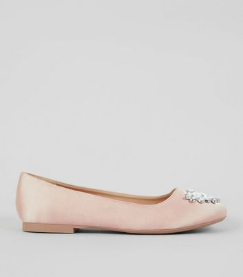 Wide Fit Nude Satin Embellished Ballet Pumps