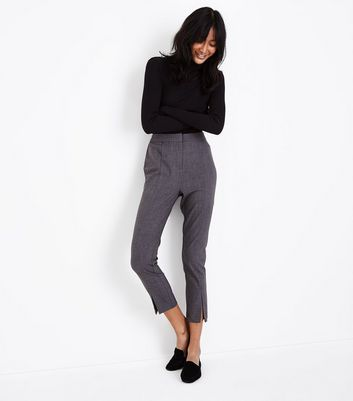 Grey Split Hem Slim Leg Trousers