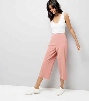 Shell Pink Crepe Crop Wide Leg Trousers