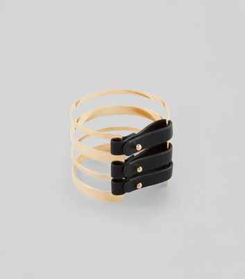 Gold Leather-Look Buckle Cuff