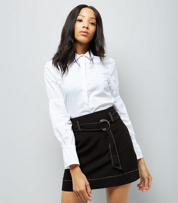 Black D Ring Belt Stitch Detail Mini Skirt