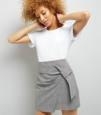 Black Check Wrap Front Mini Skirt