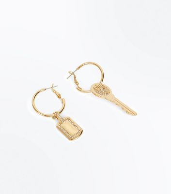Gold Mismatched Key Hoop Earrings