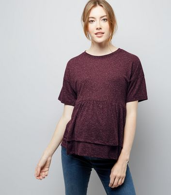 Maternity Burgundy Double Peplum Hem T-Shirt