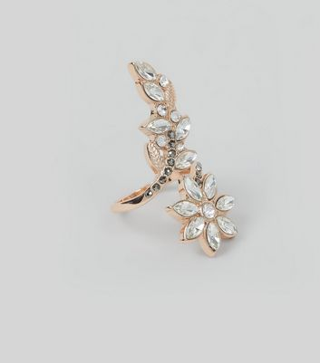 Rose Gold Crystal Embellished Leaf Wrap Ring