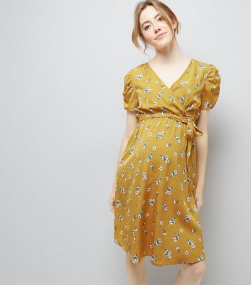 Maternity Yellow Floral Print Puff Sleeve Dress
