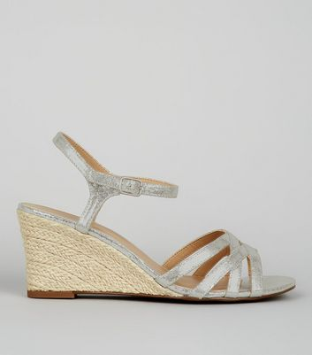 Silver Shimmer Strappy Wedges