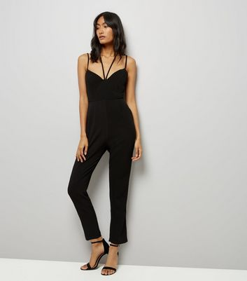 Black Strappy Tapered Leg Jumpsuit
