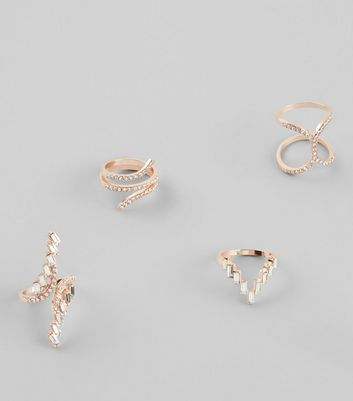 4 Pack Gold Embellished Rings