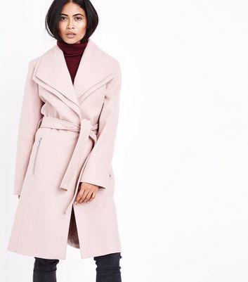 Petite Mink Layered Collar Belted Coat