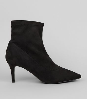 Black Suedette Kitten Heel Sock Boots | New Look