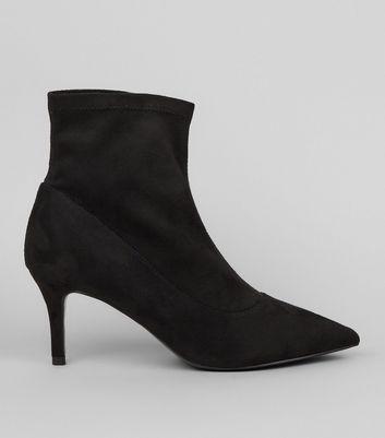 Black Suedette Kitten Heel Sock Boots | New Look