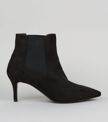 Black Suedette Kitten Heel Pointed Boots