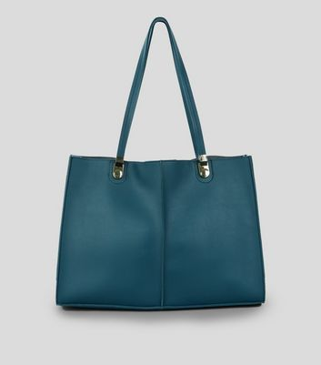 Teal Structured Tote Bag