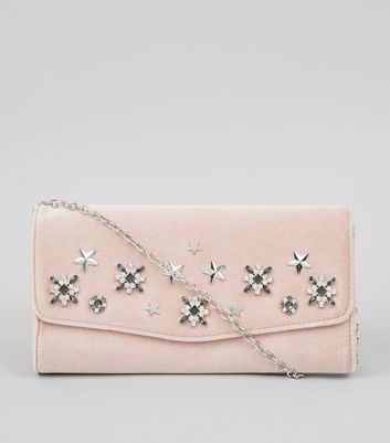 Shell Pink Velvet Star Embellished Clutch Bag