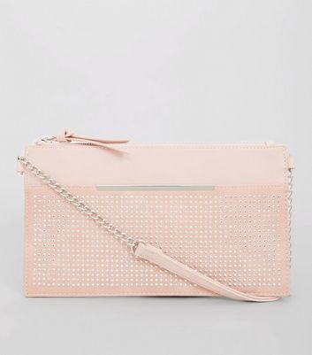 Pink Flat Studded Cross Body Bag