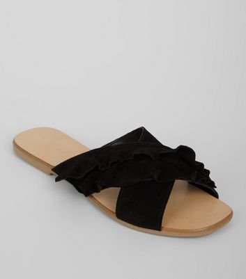 Wide Fit Black Leather Frill Sandals