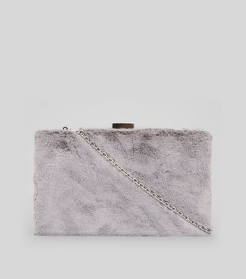 Grey Faux Fur Clutch Bag