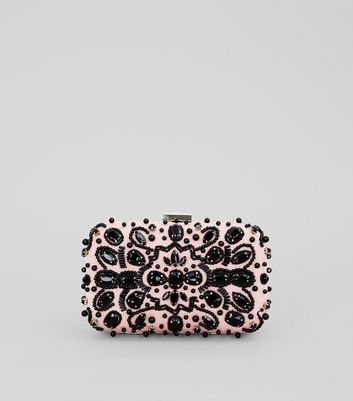 Black Gem Embellished Box Clutch Bag