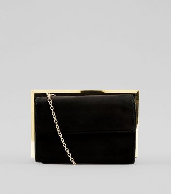 Black Suedette Metallic Framed Shoulder Bag