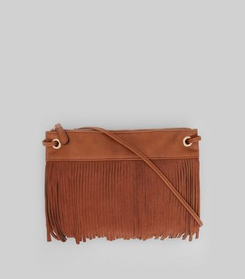 Tan Fringe Front Cross Body Bag