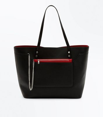 Black Contrast Trim Tote Bag