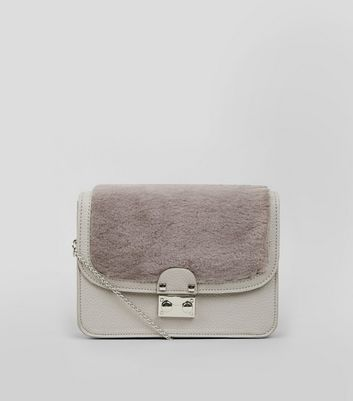 Grey Faux Fur Panel Cross Body Bag