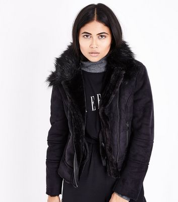 Petite Black Suedette Faux Fur Lined Biker Jacket