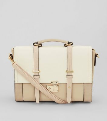 Cartable beige effet color block