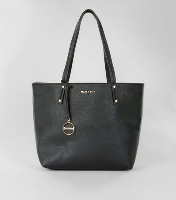 Black Leather-Look Branded Tote Bag