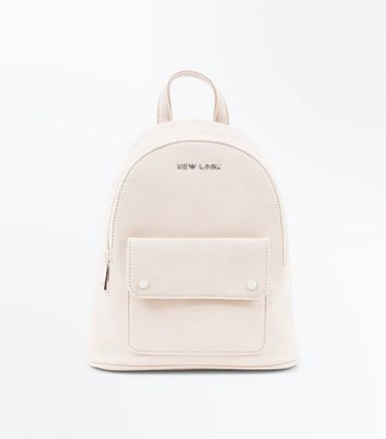 Cream New Look Branded Backpack