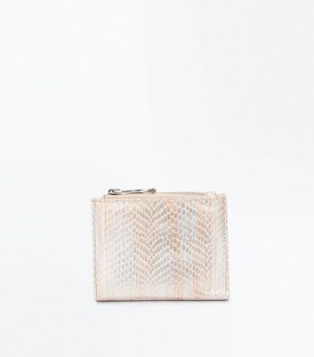 Cream Metallic Faux Snakeskin Purse