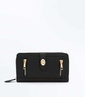 Black Double Zip Front Purse