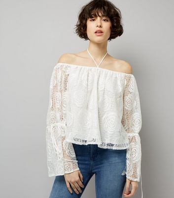 Blue Vanilla Cream Crochet Lace Bardot Neck Top