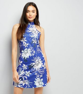 Blue Vanilla Navy Floral Print Halter Neck Dress