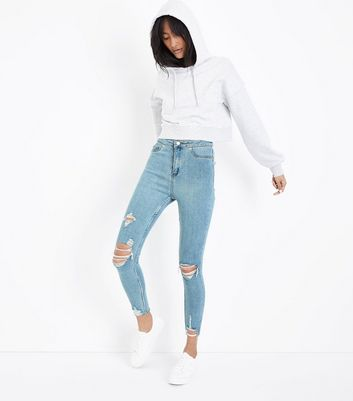 Pale Blue High Waist Ripped Fray Hem Skinny Hallie Jeans