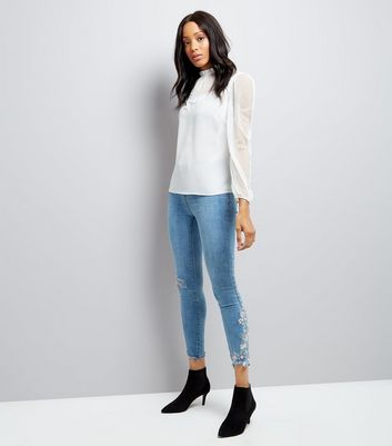 Pale Blue Floral Embroidered Fray Hem Skinny Jenna Jeans