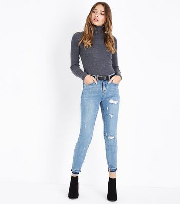 Blue Ripped Knee and Hem Skinny Jenna Jeans