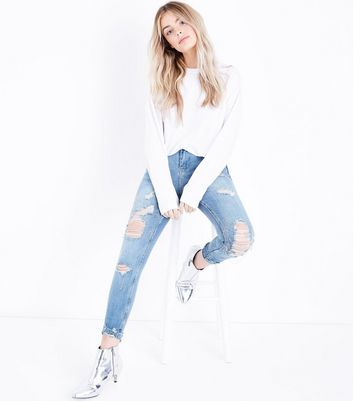 Petite Blue Chain Embellished Ripped Skinny Jeans