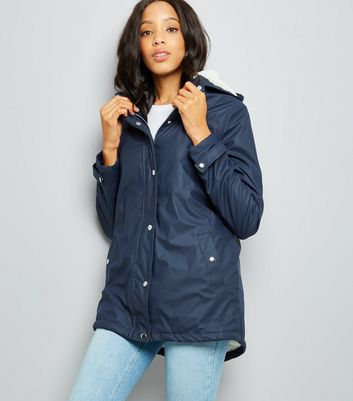 Tall Navy Borg Lined Anorak