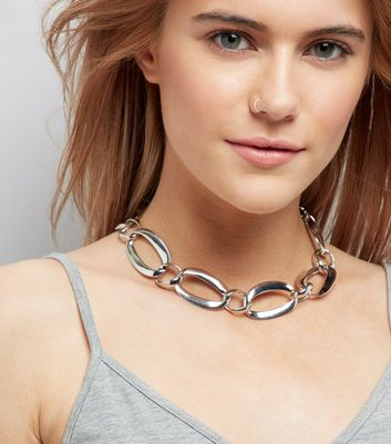 Silver Large Link Chain Chocker