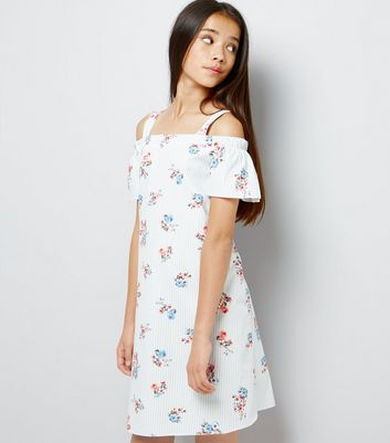 Teens Blue Floral Print Cold Shoulder Dress